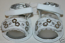 Koala Baby Kids Infant Girls White Sandals Silver Flower Shoes Size 2 or 3-6 mos