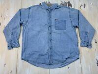 DOCKERS - Vtg 90s Blue Jean Long Sleeve Faded Denim Oxford Shirt, Mens MEDIUM