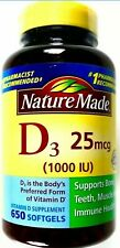 Nature Made Vitamin D3 1000IU Bone Teeth Muscle Immune, 650 Dietary Softgels
