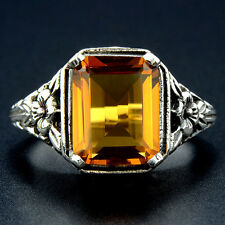 3CT Golden Citrine 925 Sterling Silver Edwardian Style Ring Jewelry Sz 8, F3-7