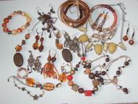 1 x Amber Brown Orange Mustard Jewellery Inc Vintage Earrings Necklace Bracelet