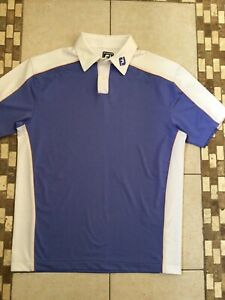Mens blue and white Footjoy golf polo shirt size Large