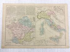 1877 Antique Map of Ancient Italy Rome Gaul France Classical Hand Coloured