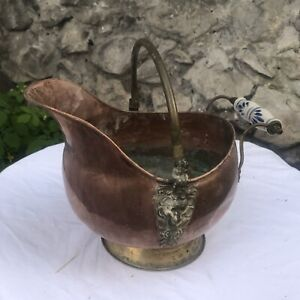 Antique French Copper Fireplace Coal Skuttle Watering Bucket Brass Lion Handmade