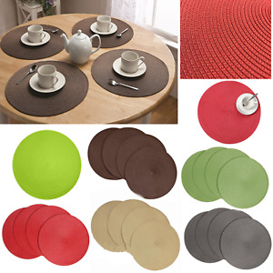 Table Mat Round Place-mats Heat-Resistant Stain Resistant Anti-Skid Washable Mat
