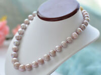 Real Natural 10-11MM Unround Lavender Freshwater Cultured Pearl Necklace 18'' AA