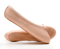Pink/White/Black Leather Full Sole Ballet Shoes Childs Adults By Katz Dancewear