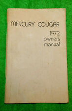 1972 Mercury Cougar Hardtop XR7 Convertible ORIGINAL OWNER'S MANUAL
