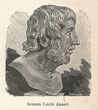 A7116 Seneca Lucio Anneo - Stampa Antica del 1930 - Xilografia