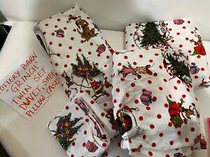 POTTERY BARN PB TEEN Grinch Christmas TWIN Duvet Sham Flannel Sheets Pillow Case