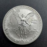 1993 Mo 1 oz Onza Mexico Libertad CH BU UNC Ley .999 Plata Pura Semi Key Date