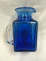 VINTAGE COBALT BLUE SQUARE HAND BLOWN PITCHER ROUGH PONTIL SEED BUBBLES 6""