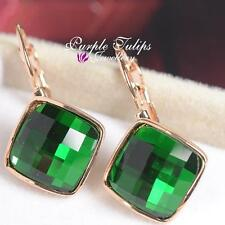 Emerald Square Cut Hoop MadeWith Swarovski Crystal Earrings,18K Rose Gold Plated