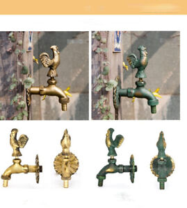 Outdoor Vintage Style Garden Wall Mounted Water Tap Brass Faucet Rooster Animal