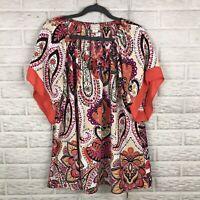 Espressa USA Womens Blouse Plus 3X Boho Paisley Floral Elastic Keyhole Tie Neck