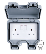 Hamilton PREMIUM Waterproof Outdoor 13A 1Gang 2Gang Switched Socket Double IP66