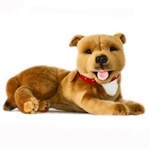 Terrier Staffordshire Bull Staffy Plush Soft Toy Dog 35cm Merlot by Bocchetta