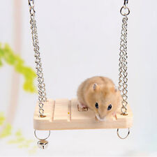 1X Hamster Toy Hanging Swing Rat Parrot Wooden Natural Exercise Funny