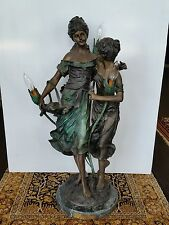 """Solid Bronze Sculpture Lamp """"Sisters"""" by A. Moreau 32"""" Height"""