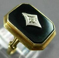 ANTIQUE WIDE .02CT OLD MINE DIAMOND & AAA ONYX 14K TWO TONE GOLD 3D HEXAGON RING