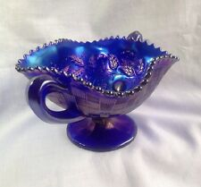 Carnival Glass Northwood Electric Blue Bonbon 3 Three Fruits Basket Dish Bowl