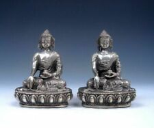 Vintage Pair Silver Copper Crafted Tibetan Buddha Statues #02072009