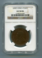 South Africa ZAR NGC Certified 1898 Kruger Penny AU 58 BN Coin