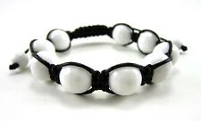 12MM ALL WHITE ONYX BEAD MACRAME HIP HOP NATURAL STONE BEADED BRACELET