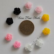 Roses 3d Nail Art  Decoration 8mm approx - Bling 10 pack - Fimo Rose. - UK