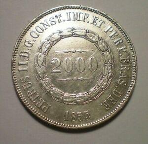 1855 BRAZIL SILVER 2000 REIS