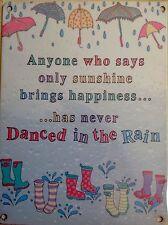Kitchen Wall Sign Metal Plaque Umbrella & Wellies Vintage Sign - Danced Slogan