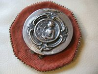 Antique Art Nouveau Woman Orange Crochet Steel Bead Tam O Shanter Coin Purse