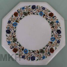 White Marble Coffee Table Top Inlay Handmade Vintage End Tables Mosaic Mid