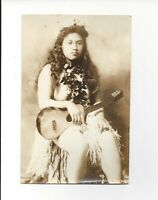 1930s RPPC Nude Hawaiian Women sitting with lei and Guitar Real Photo Postcard