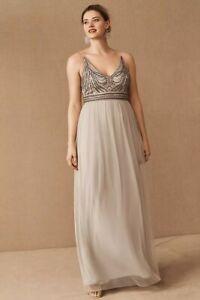 NWT Anthropologie BHLDN Vilette Dress in Fog Sz 16 Reg $245
