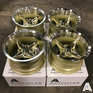 """Autostar 14"""" x 9"""" Kanji 4x100 et-13 alloys fit Mazda MX5 wide arch flared body"""