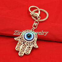 Hamsa Fatima Hand Blue Evil Eye Crystal Pendant Amulet Kabbalah Keyring Chain
