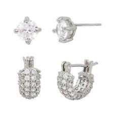 Betsey Johnson Blue Womens Wedding CZ Huggie Stud Earrings Set NWT