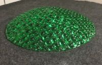 "Vintage Art Deco Emerald Green Pressed Glass Lamp Shade 11-1/8"" In Diameter #1X"