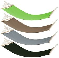 Garden Polycotton Hammock Chair Hanging Swing Seat With Wood Bar Outdoor Camping