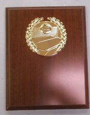 Volleyball plaque 7 x 9 brown finish gold theme relief
