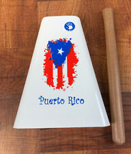 Hand Held Cowbell With Puerto Rico Flag Design And Stick. (Damaged Paint)