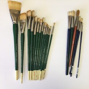 Lot of (20) Used Paintbrush Paint Brushes Grumbacher, Winton, Winsor & Newton A9
