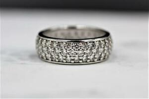 QVC Epiphany Platinum Clad Sterling Silver Round Pave Set Eternity Band Ring sz9