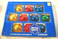 10 Vintage Glass Christmas Ornaments Balls Silvered Solid Green Blue Red Yellow