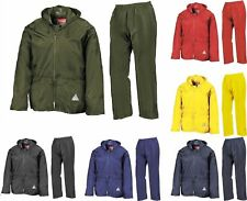 Mens Waterproof Heavy Duty Windproof Jacket And Trousers New Rain Suit + Bag