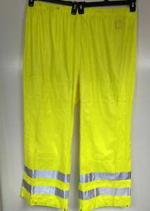 Carhartt Mens 2XL High Visibility Rain Pants Neon Yellow/Green Hi Vis NWOT