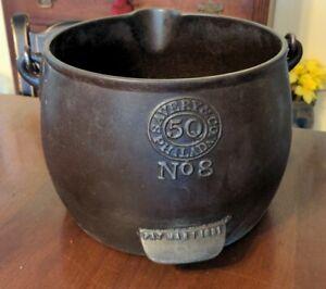 Savery & Co Philadelphia Cast Iron Kettle No8 5 Quart Patent 1881 as is