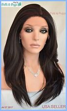 Swiss Lace Front Wig 4X4 Silk Top Hand tied Heat Safe Color #4  Long Thick 1235