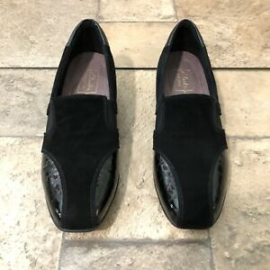 Clarks Everyday Active Noreen 60942 Black Suede Patent Leather Loafers Size 7